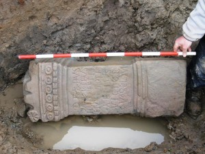 A Roman Alter found while excavating for Archaeologists after the demolition of the Tom Garner showroom Castlefield